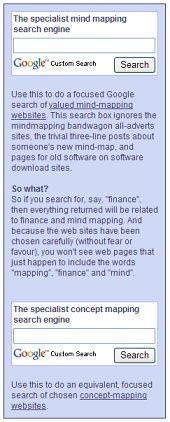 two specialized search engines on concept mapping and mind mapping